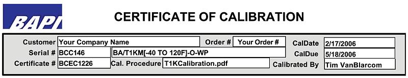Calibration Certification 1