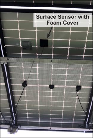 Surface sensor installed on solar panel
