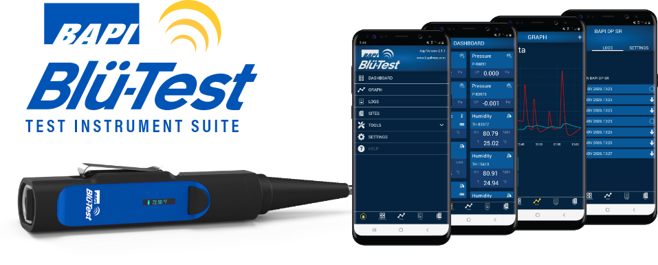 blu-test probe and phones on a countertop running the Blu-Test app