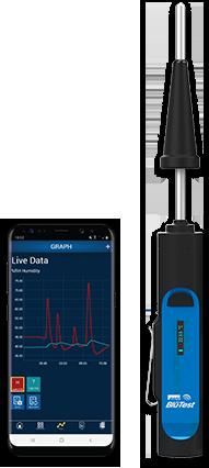 blu-test probe and smart phone running blu-test app