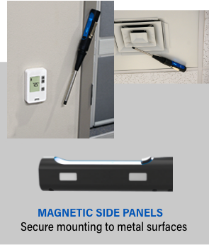 magnetic side panels for secure mounting to metal surfaces